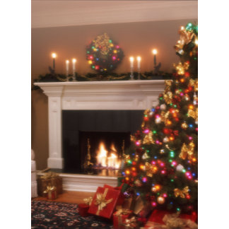 christmas tree scene by fireplace
