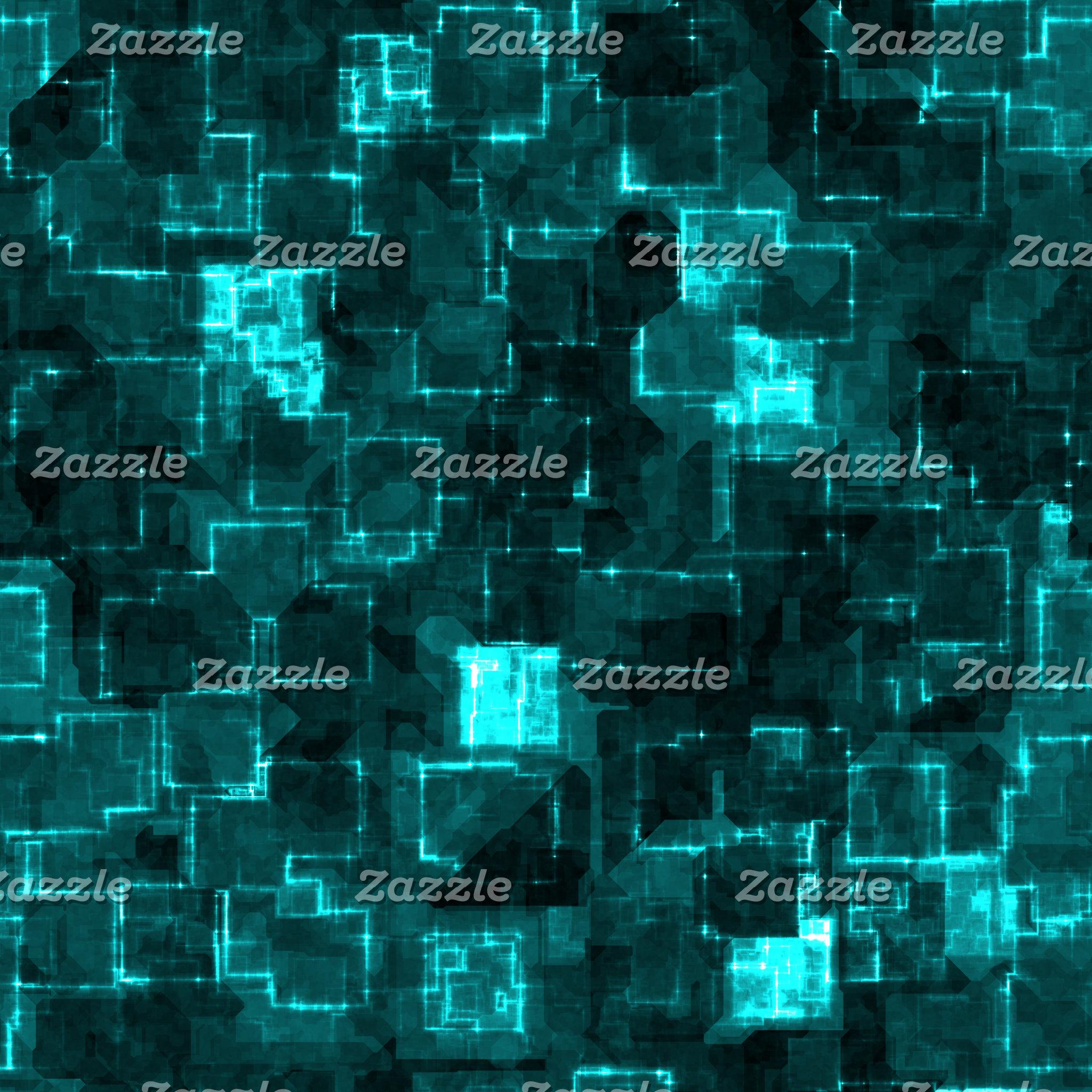 Digital Aqua Glimmer Tiles