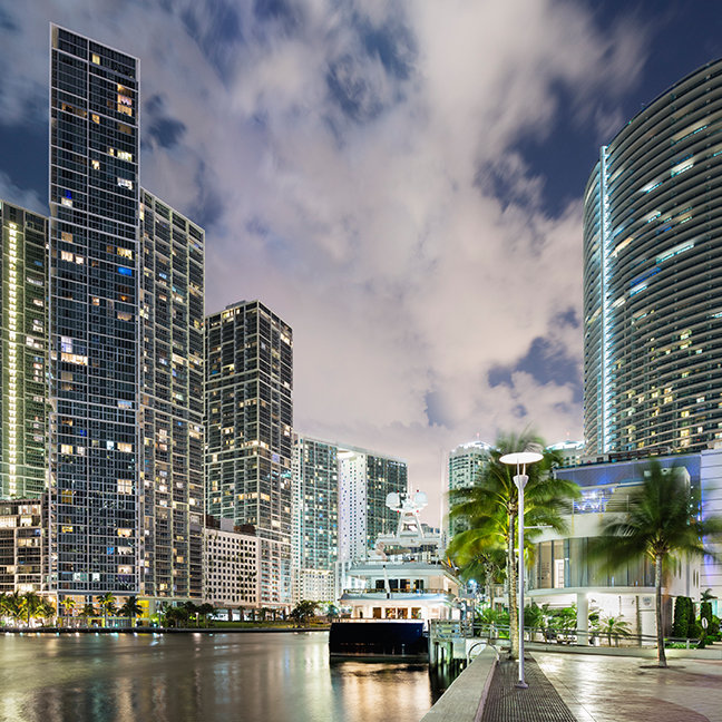 Illuminated towers at the Miami River waterfront
