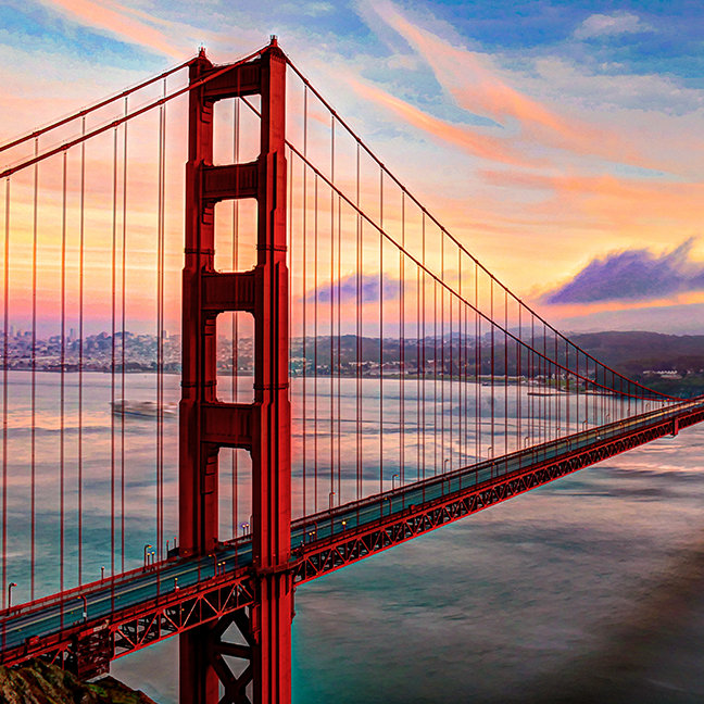 Beautiful winter sunset at Golden Gate Bridge