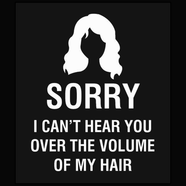 SORRY. I CAN'T HEAR YOU OVER THE VOLUME OF MY HAIR