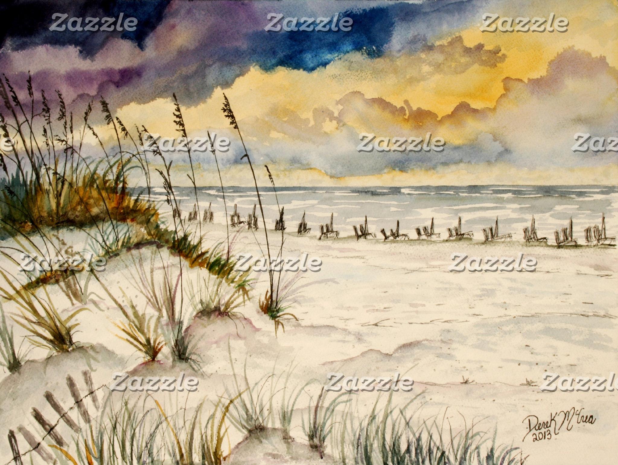 Beach and Lighthouse Art Prints