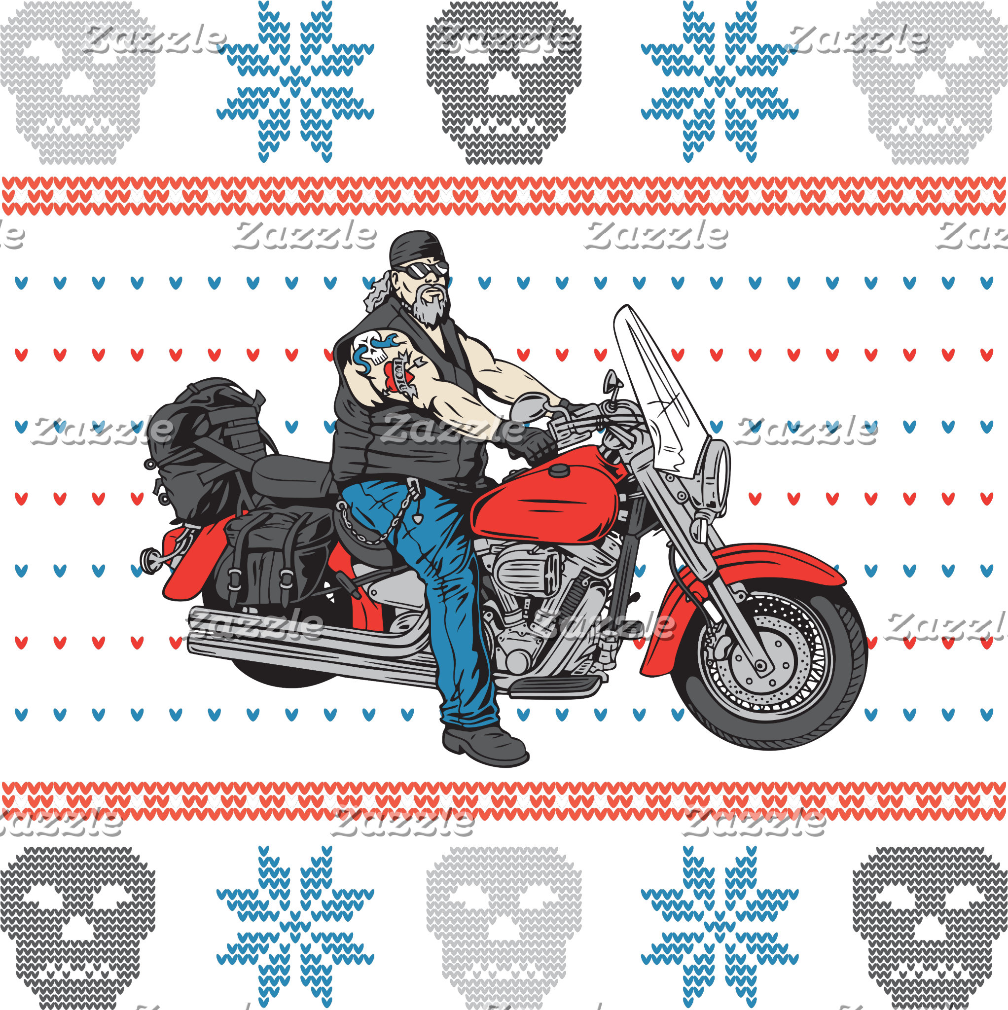 Old Biker Skulls Motorcycle Ugly Christmas Sweater