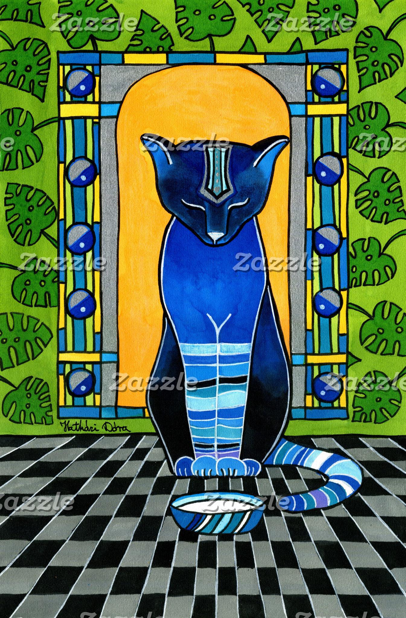 Cat Art - He is Back - Blue Cat painting