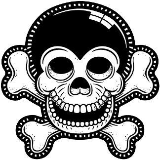 Retro Toon Monkey Pirate Skull