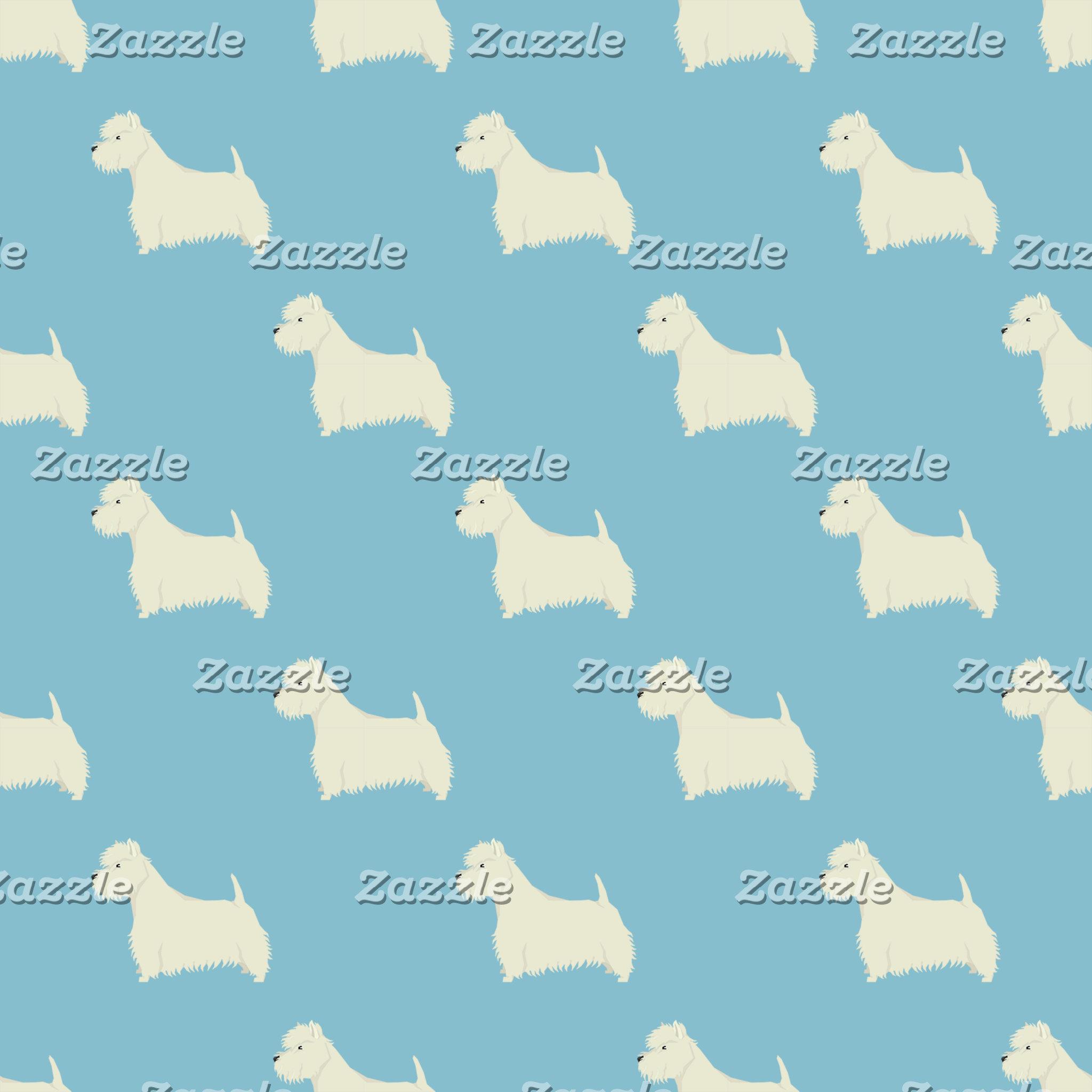 West Highland Terrier Pattern Light Blue