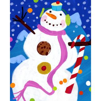 cute candy cupcake snowman