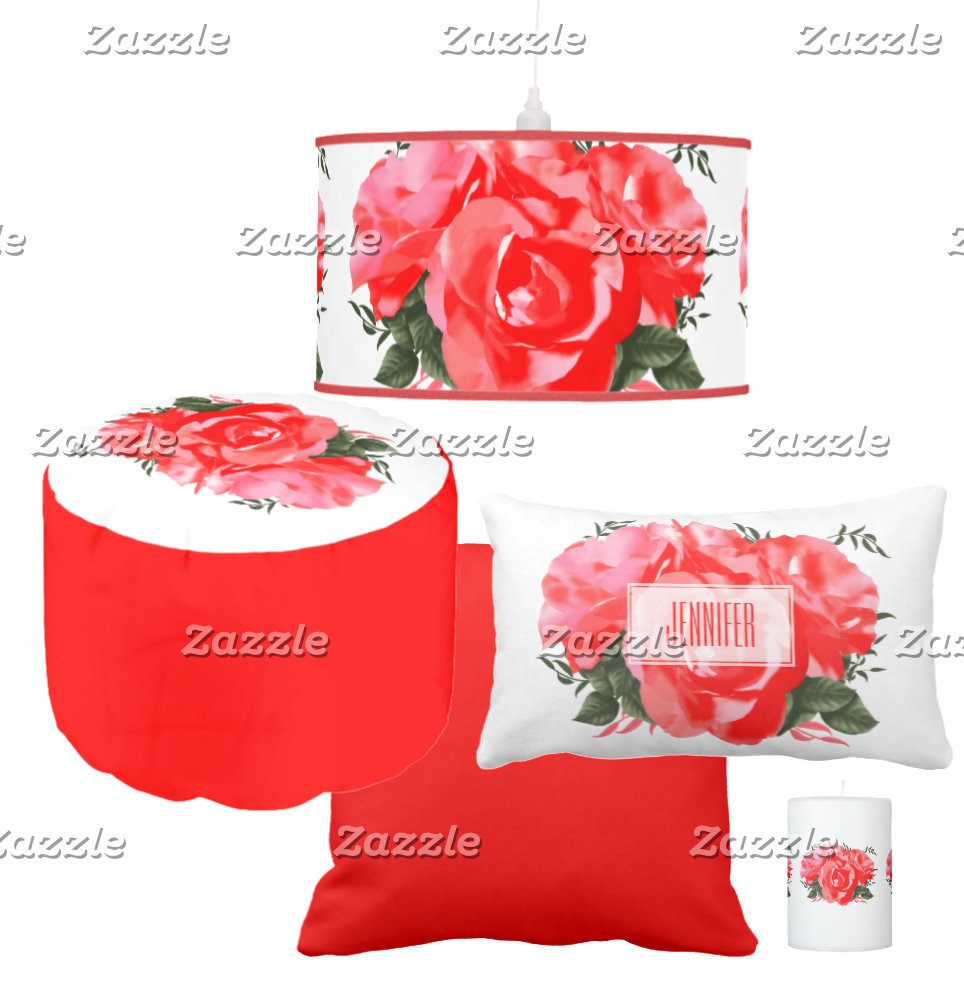 Red Rose Flowers Personalized Design
