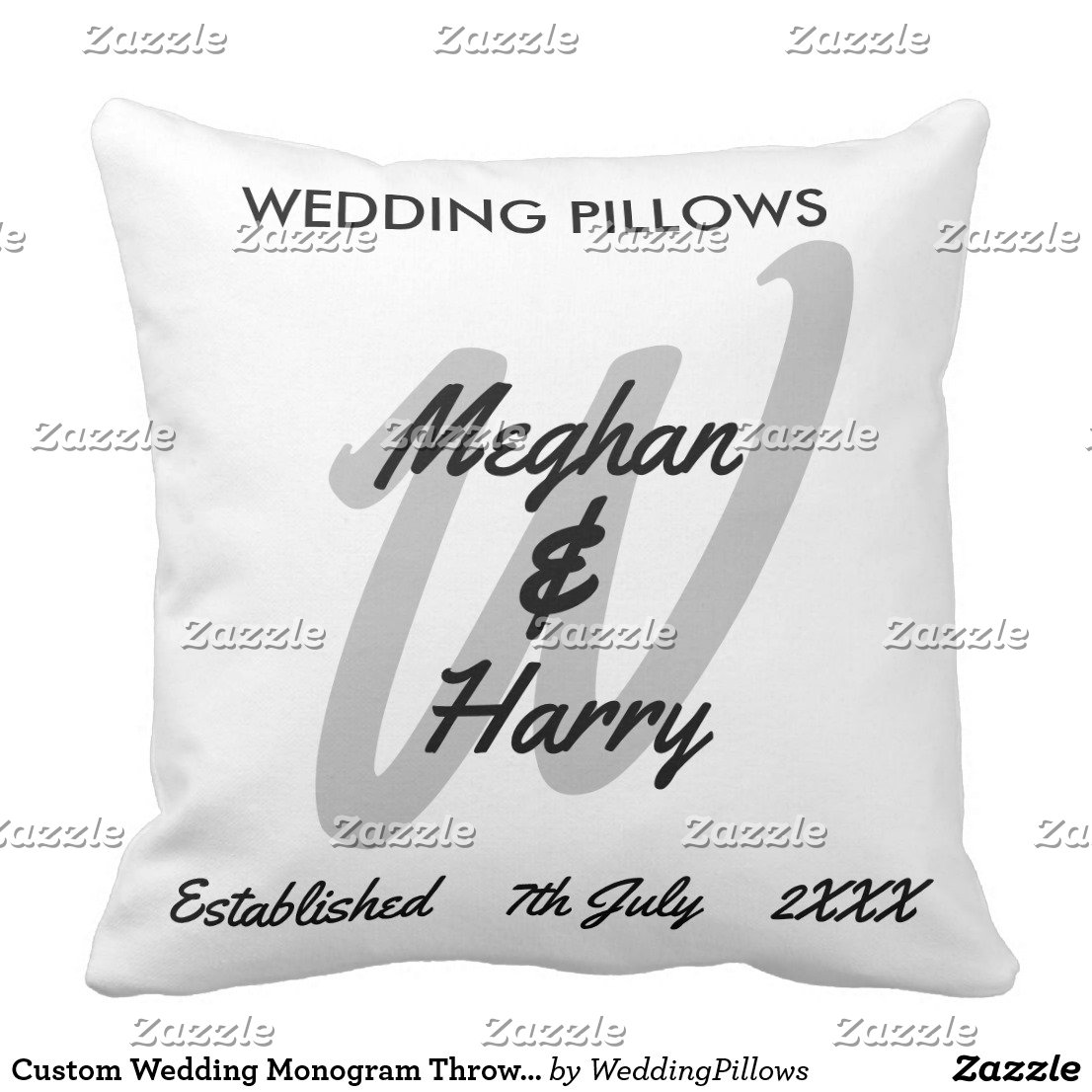 Bride & Groom Monogram Throw Pillows