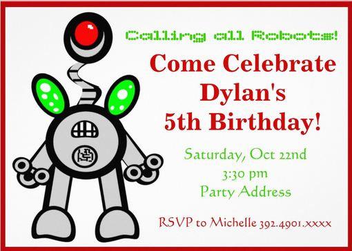 Robot Birthday Party Invitations Custom Templates