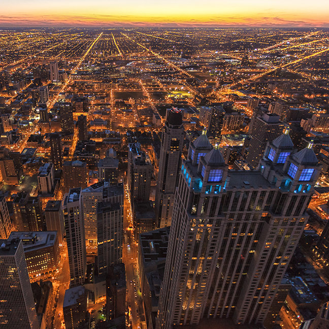 Chicago downtown at sunset