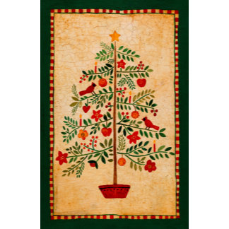 christmas flower tree with cardinals