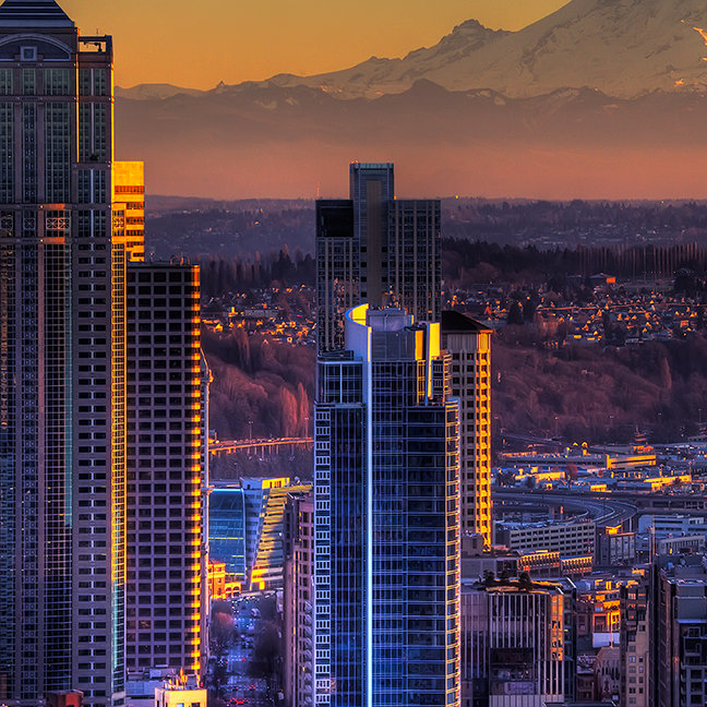 Cityscape view of Seattle downtown, football