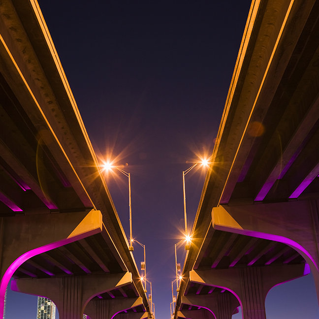 MacArthur Causeway seen from underneath at dusk