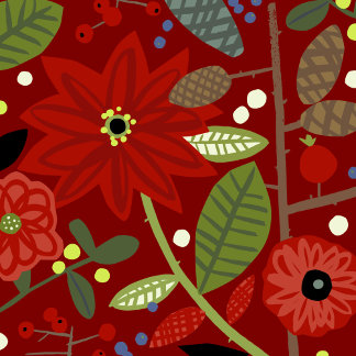 cute red poinsettia and flowers