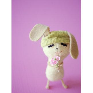 """Felt Bunny Holding Flowers Photo Poster Print"""