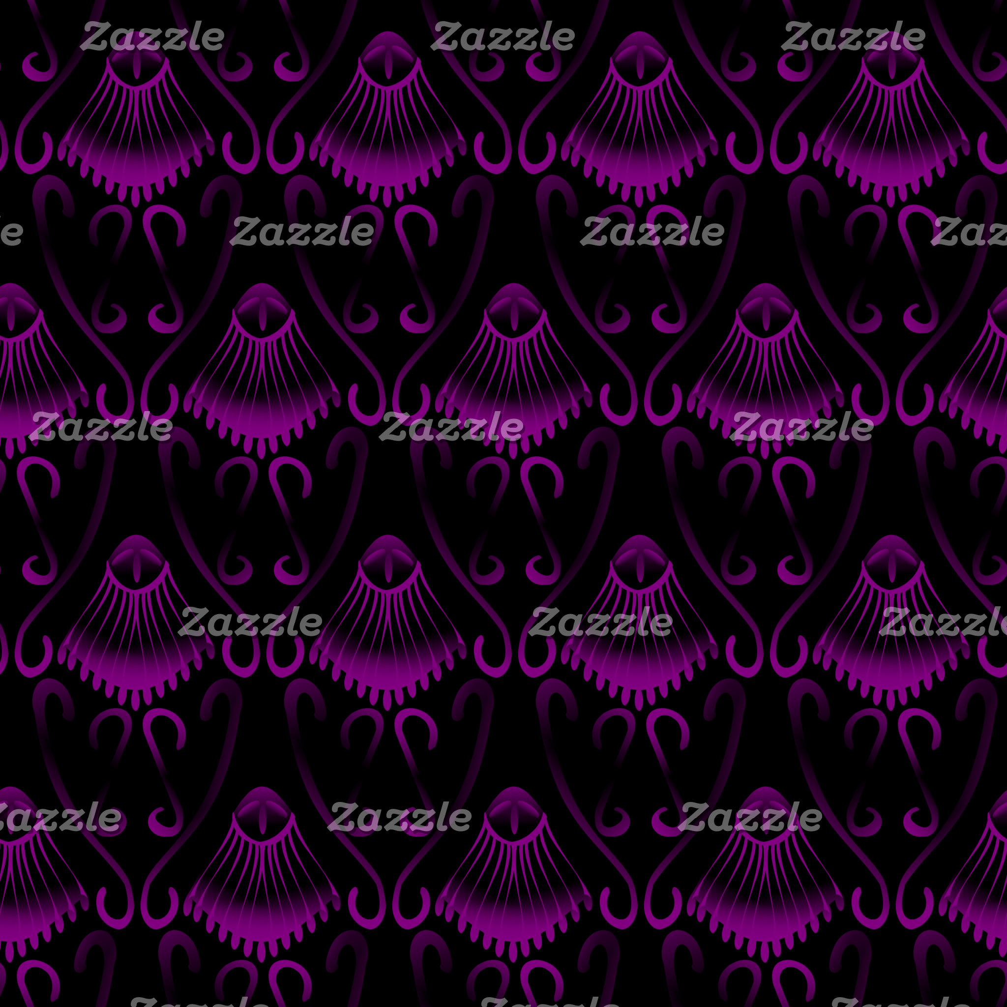 Purple Jellyfish with an Black Background Pattern