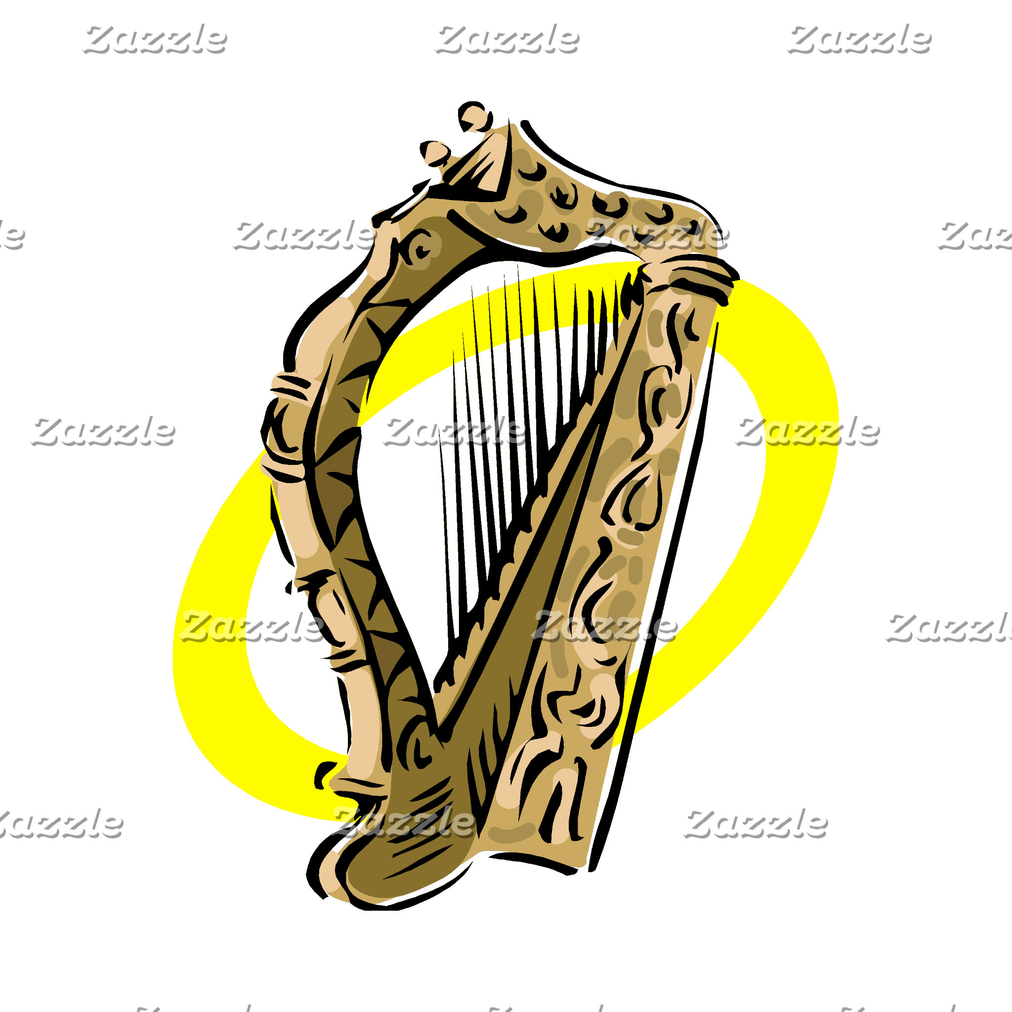 Ornate harp graphic yellow ring