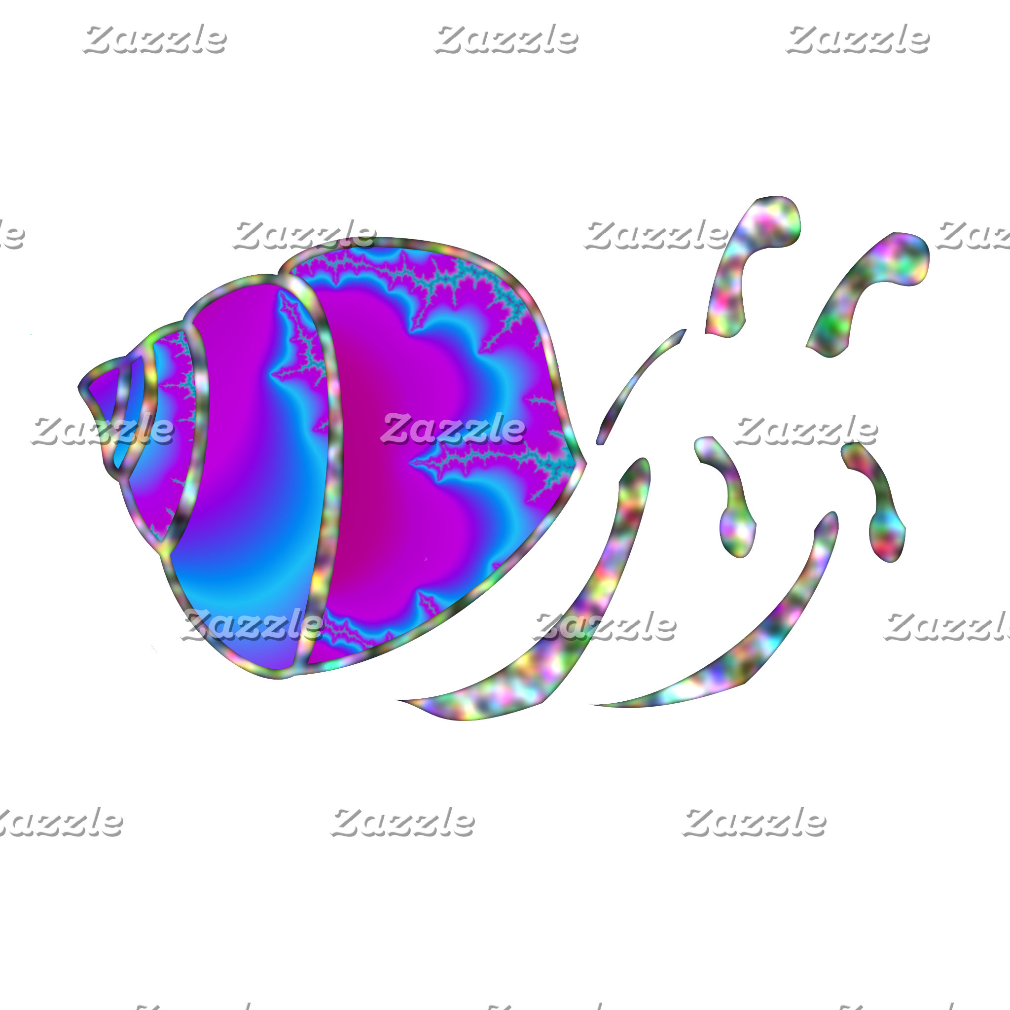 Fractal Teal and Purple Snail Shell