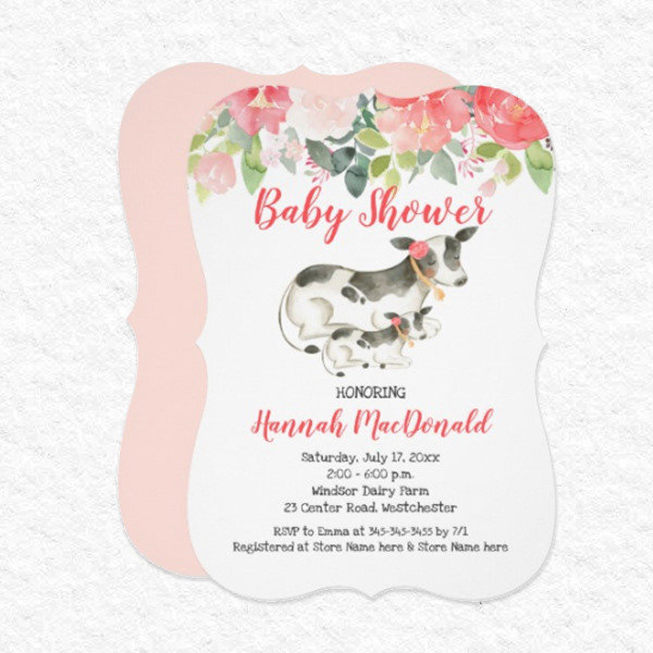 Dairy Cow Floral Baby Shower