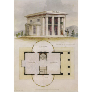 Villa with Greek Pilasters and Floor Plan