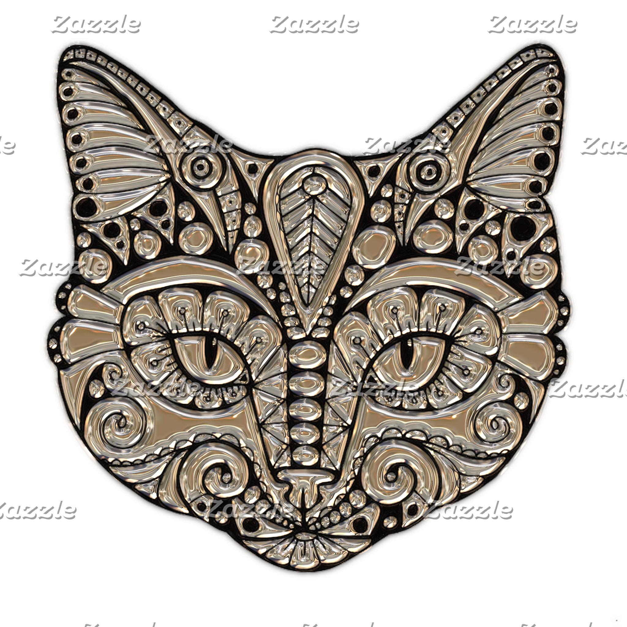 Art Deco Jewel Cat Emblem