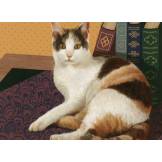 """Calico Cat with Books Library Poster Print"""