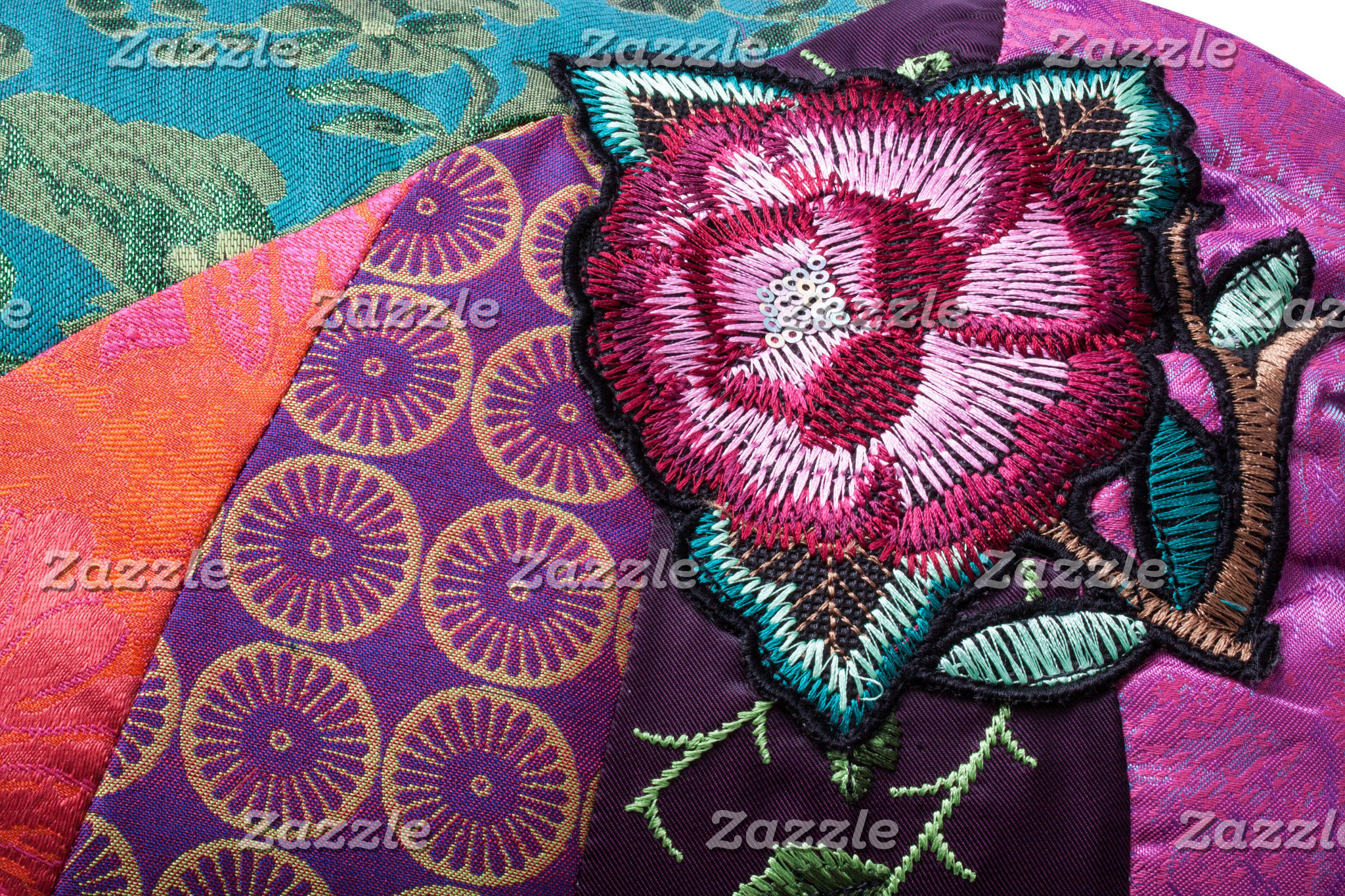 Embroidered, tapestry bohemian fabric print