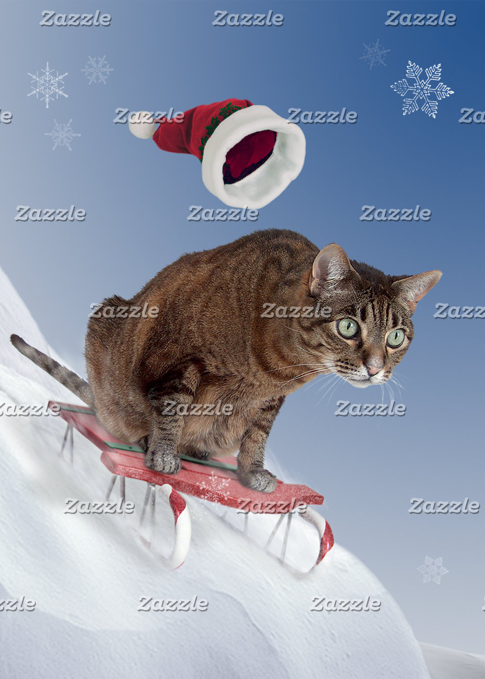 Sledding Cat Cards and Gifts