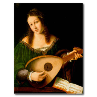 Lady Playing a Lute