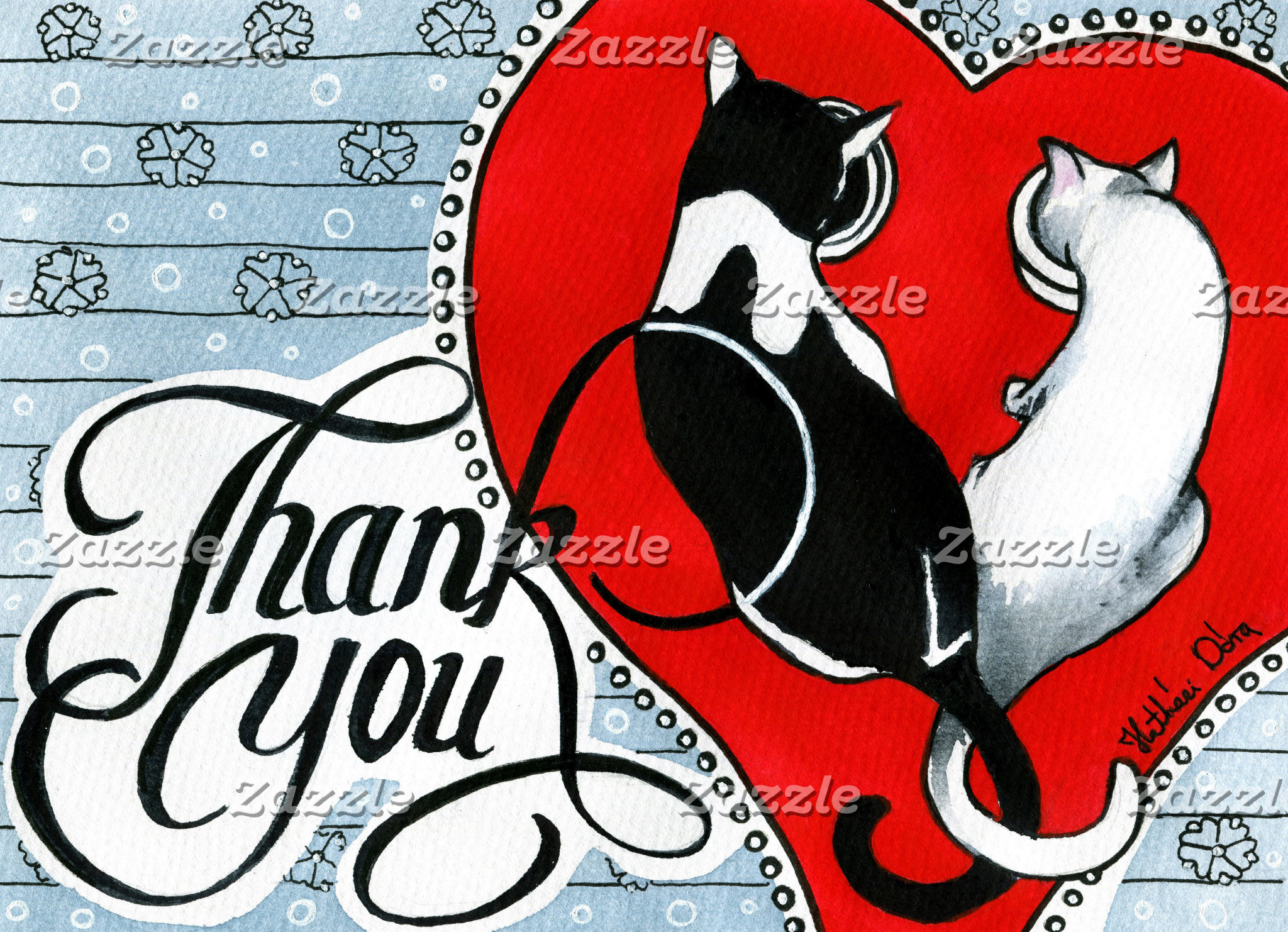 Cat Art - Hearts and Tails