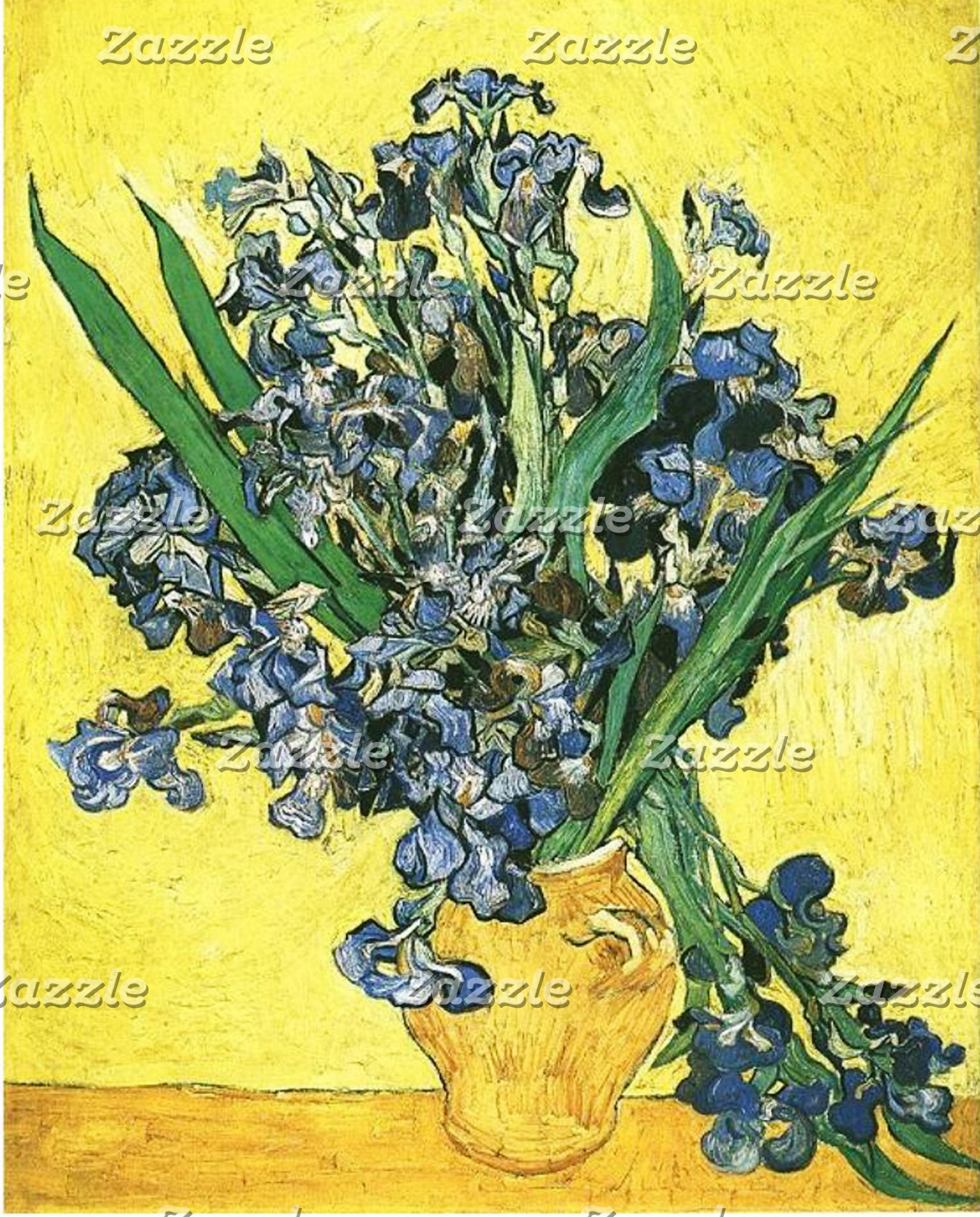 Blue irises in yellow background