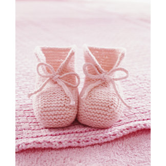 """pink baby booties w/blanket poster print"""