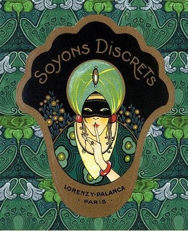 Art nouveau green turban lady
