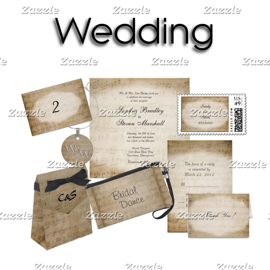 Music Theme Wedding Invitation Suites