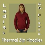 Ladies AA Fleece Thermal Zip Hoodies