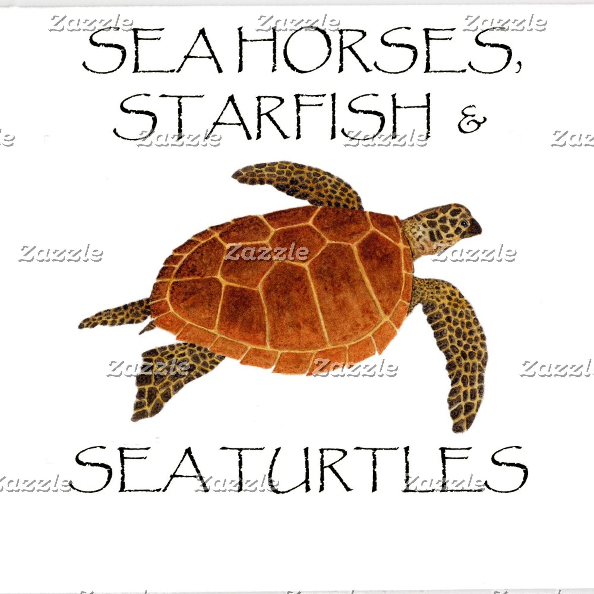 Sea Horses, Starfish,Turtles