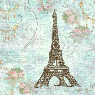 Eiffel Tower and Pink Roses
