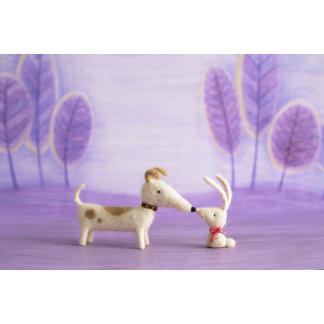 """Felt Dog and Bunny Photo Poster Print"""