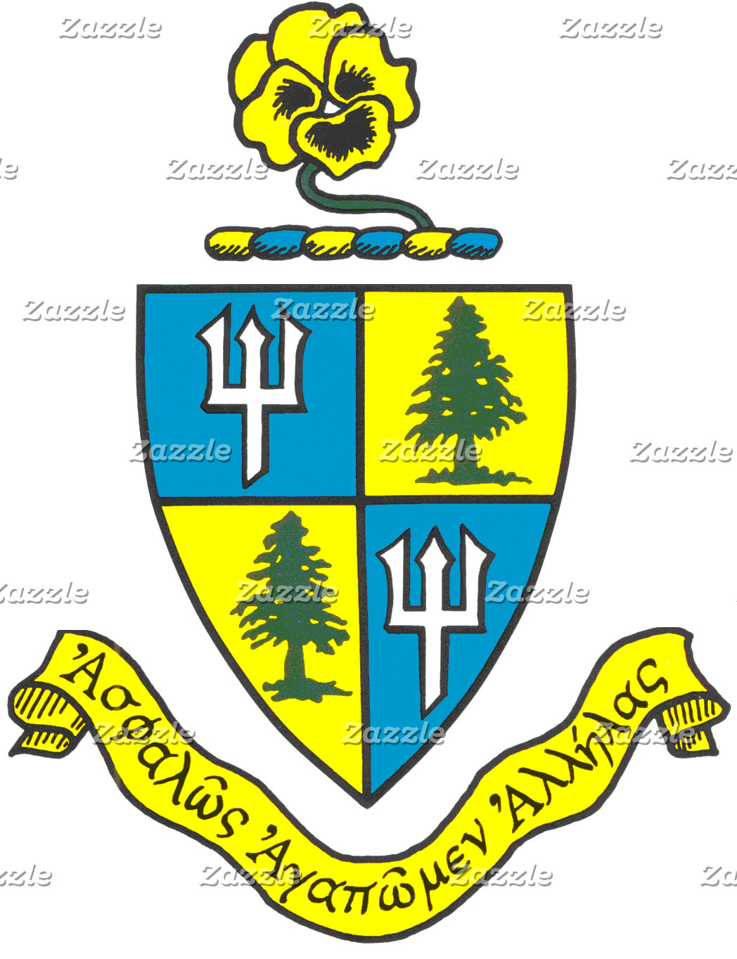 Delta Delta Delta Coat of Arms with Yellow