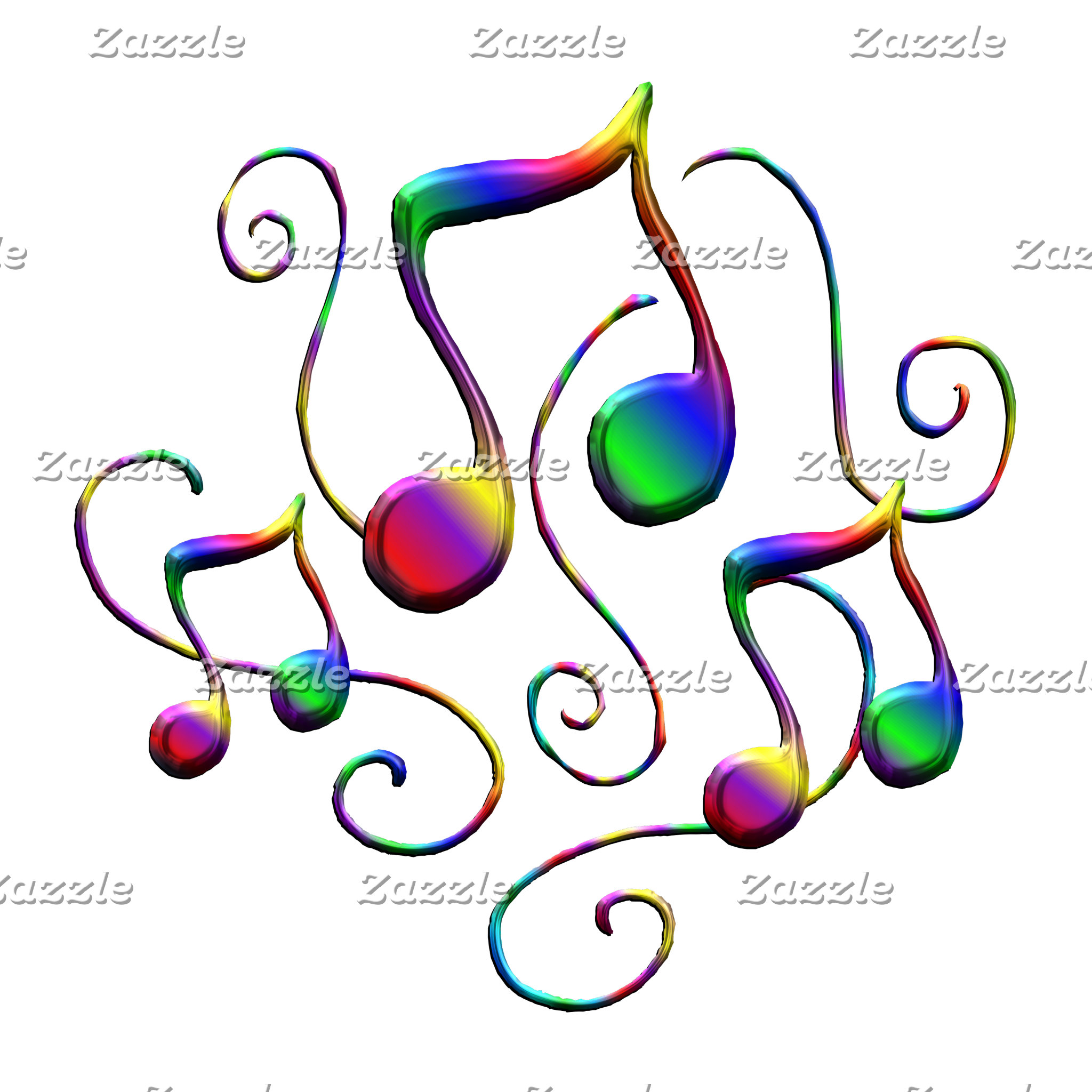 Colorful Music Notes and Fun Swirls