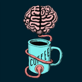Coffee for the brain. Funny coffee illustration