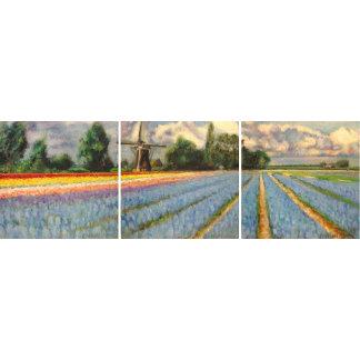 Spring Flowers Windmill Landscape Triptych