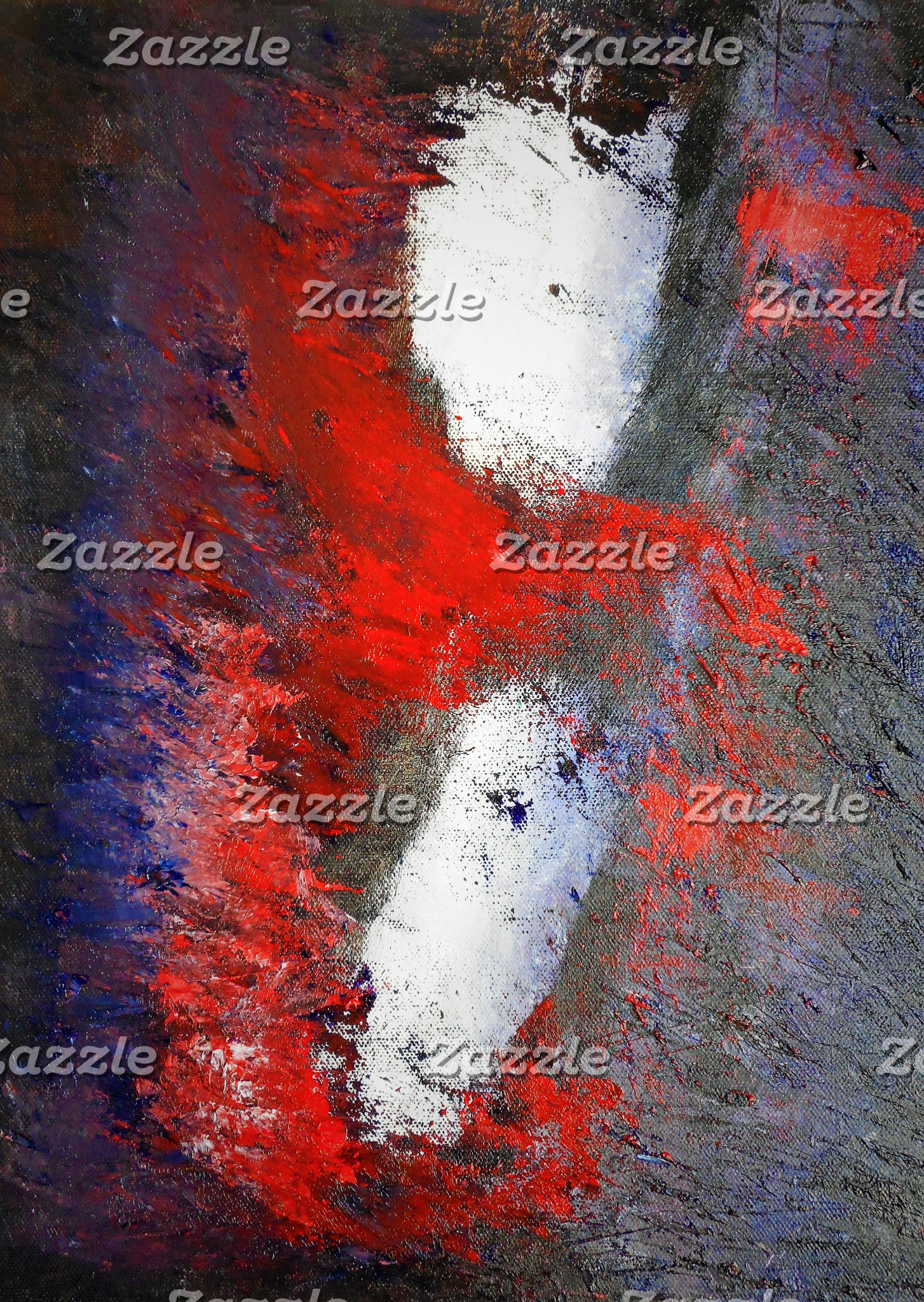 Red White Grey Abstract
