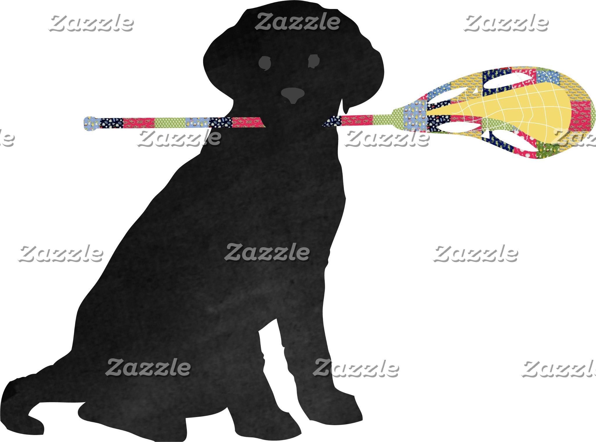Preppy Black Lab Lacrosse Dog
