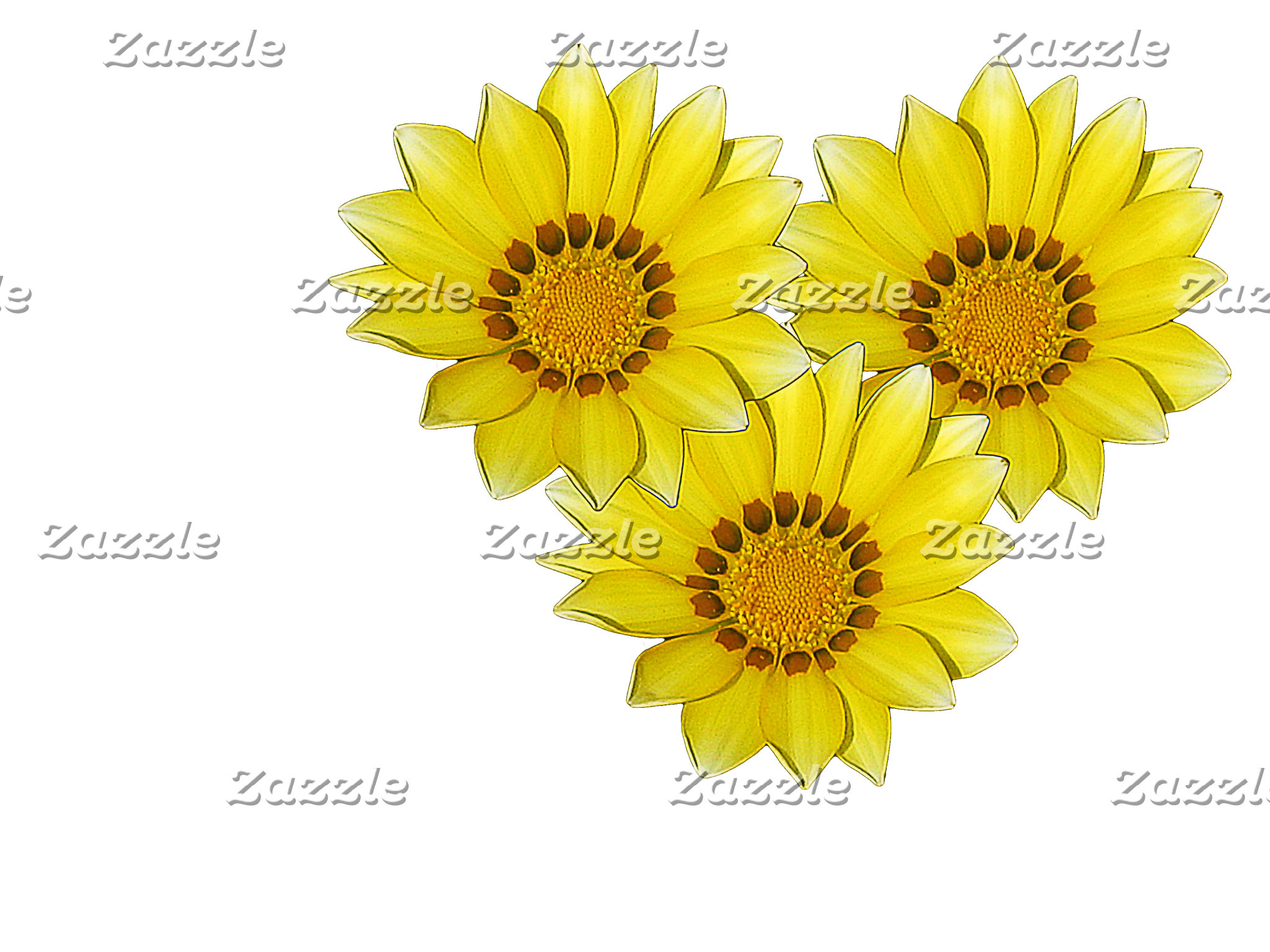 Three Yellow Mini Gerbera