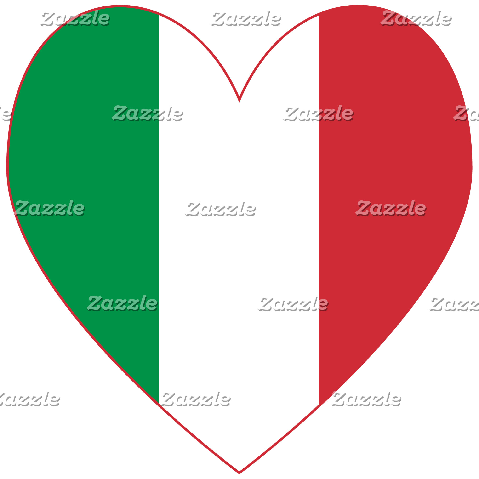 Italian Heart Flag Red Border