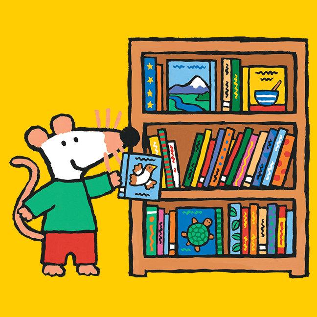 Maisy and a Bookshelf of Books