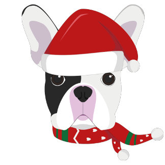 French Bulldog Santa Hat