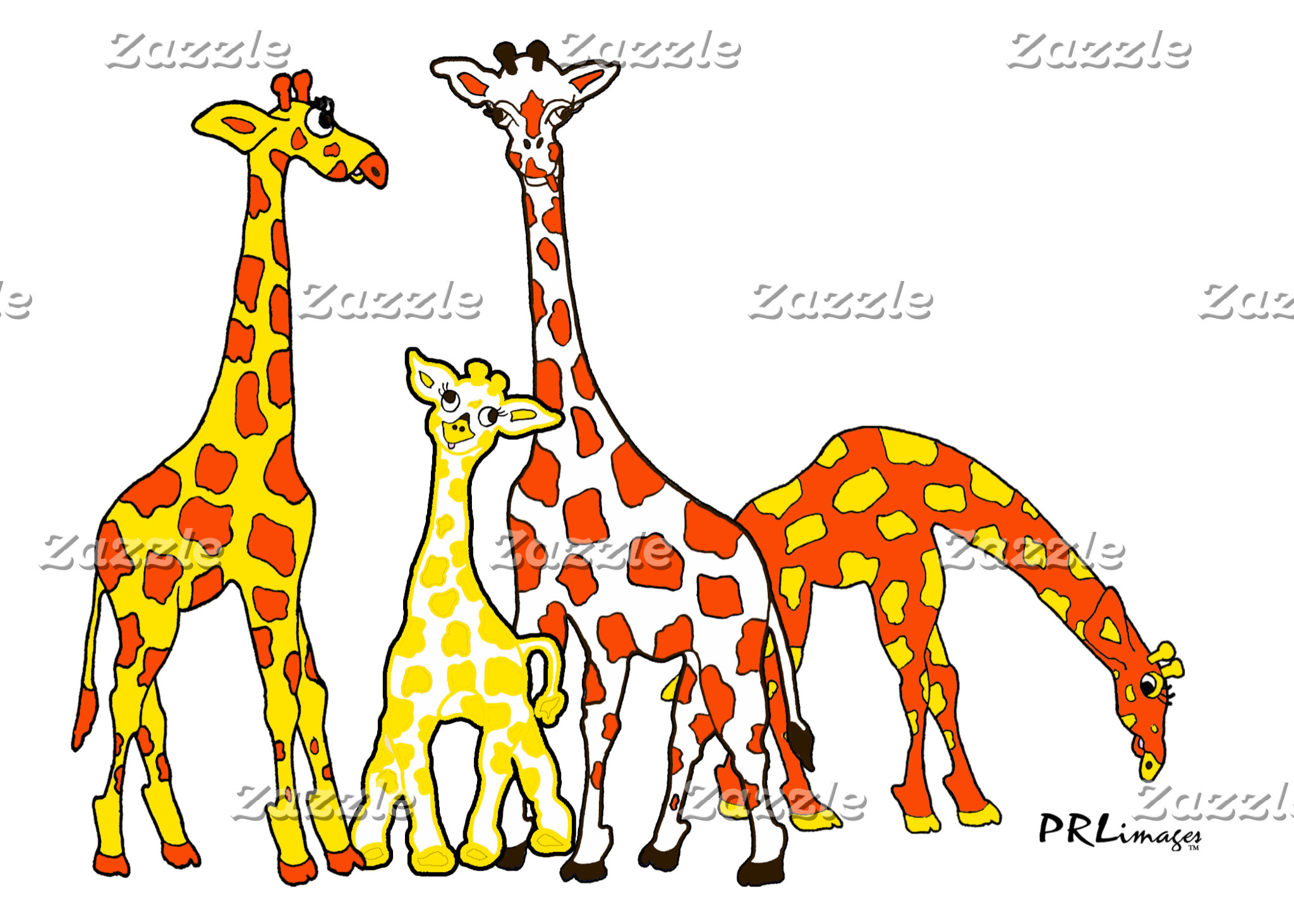 Giraffe Family in Orange and Yellow